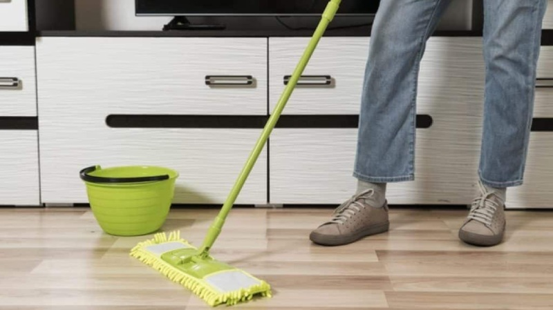 mopping stick and buckets